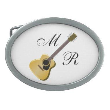 Monogrammed Acoustic Guitar Belt Buckle