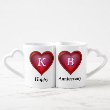 Monogrammed Anniversary Mugs, type in Number Years Coffee Mug Set