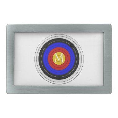 Monogrammed Archery Target Design Rectangular Belt Buckle