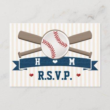 MONOGRAMMED BASEBALL WEDDING RESPONSE Invitations