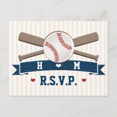 Monogrammed Baseball Wedding RSVP Post
