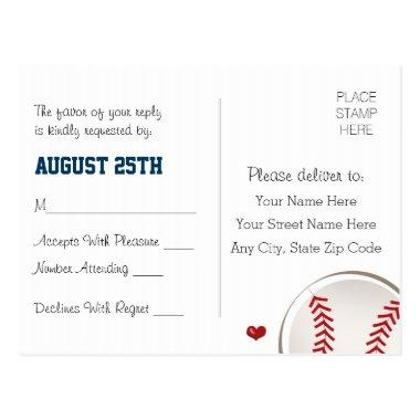 Monogrammed Baseball Wedding RSVP Post