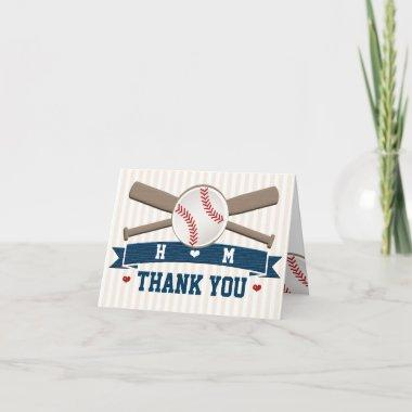 MONOGRAMMED BASEBALL WEDDING THANK YOU