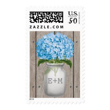 Monogrammed Blue Hydrangea Mason Jar Wedding Postage