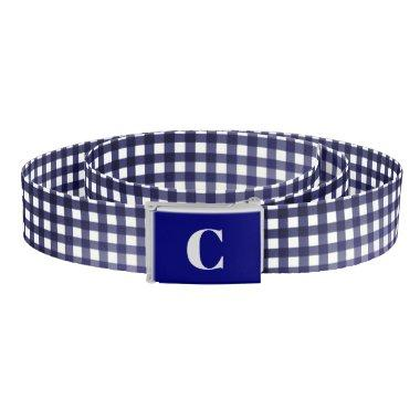 Monogrammed Blue/White Gingham Belt