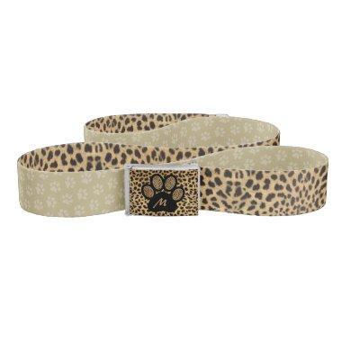 Monogrammed Cheetah with Paw Print Belt