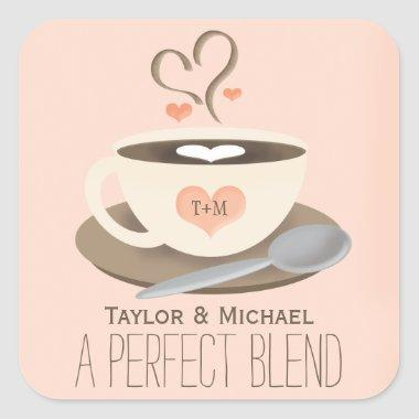 529bd90eade Blush Monogrammed Heart Coffee Cup Bridal Shower Invitations · Monogrammed  Coffee Cup Heart Wedding Party Favor Square Sticker
