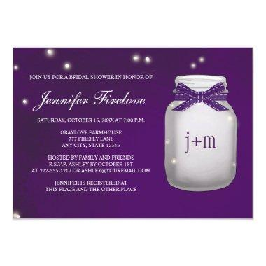 Monogrammed Firefly Mason Jar Bridal Shower Invitations
