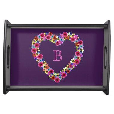 Monogrammed Floral Heart in Purple Serving Tray