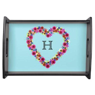 Monogrammed Floral Heart Serving Tray