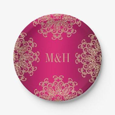 Monogrammed Fuchsia and Gold Indian Style Wedding Paper Plate