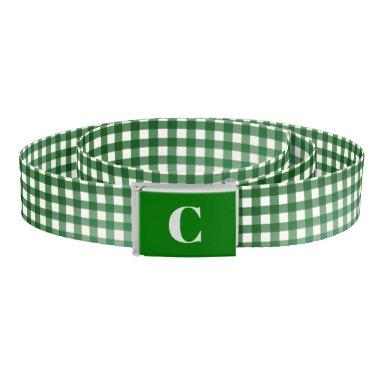 Monogrammed Green/White Gingham Belt
