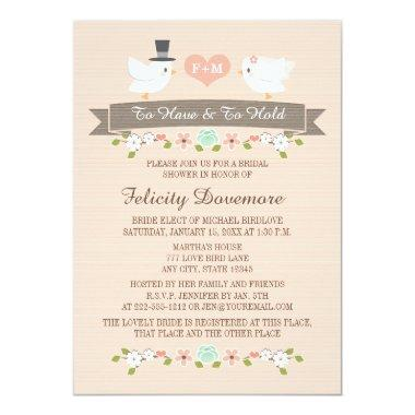 Monogrammed Love Birds Bridal Shower Invitations