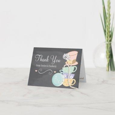 MONOGRAMMED MAD HATTER WEDDING THANK YOU Invitations