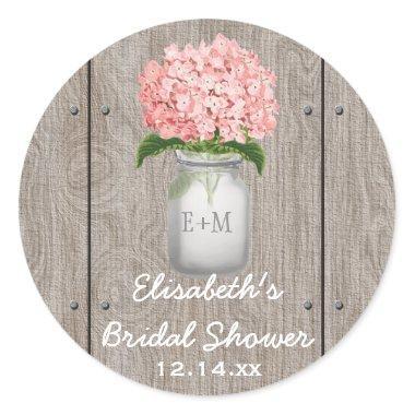 Monogrammed Mason Jar Pink Hydrangea  Classic Round Sticker