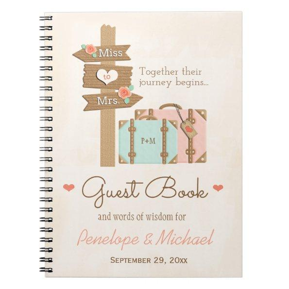travel themed guest book notebook