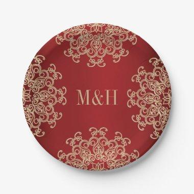 Monogrammed Red and Gold Indian Style Wedding Paper Plate
