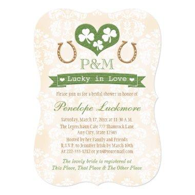 Monogrammed Shamrock and Horseshoes Bridal Shower Invitations