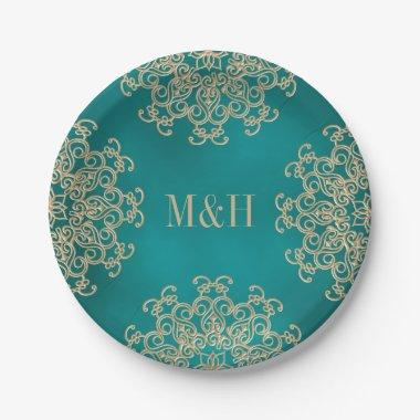 Monogrammed Teal and Gold Indian Style Wedding Paper Plate
