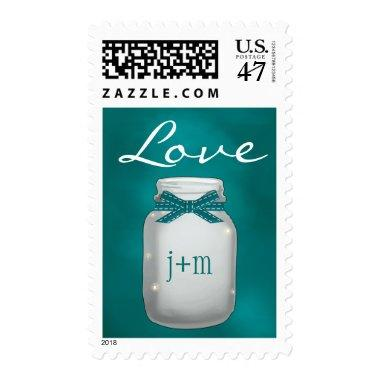Monogrammed Teal Mason Jar with Fireflies Love Postage
