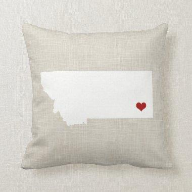 Montana State Pillow Faux Linen Personalized