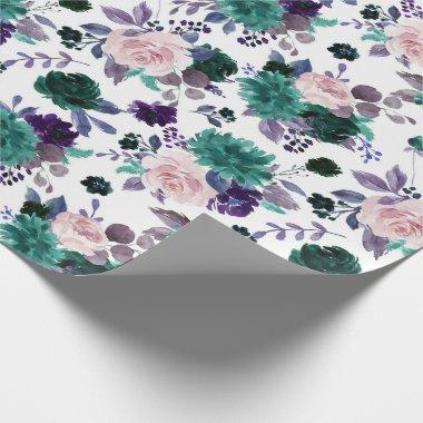 Moody Boho | Eggplant Plum Purple Floral Bouquet Wrapping Paper