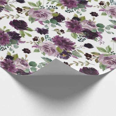 Moody Passion | Dramatic Purple Bouquets Pattern Wrapping Paper