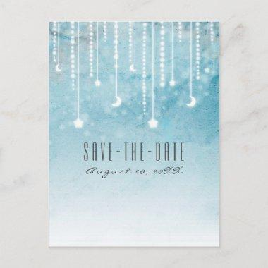 Moon & Stars Celestial Blue Modern Save the Date Announcement PostInvitations