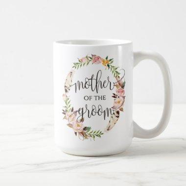 Mother of the Groom, Calligraphy, Floral Wreath-7 Coffee Mug