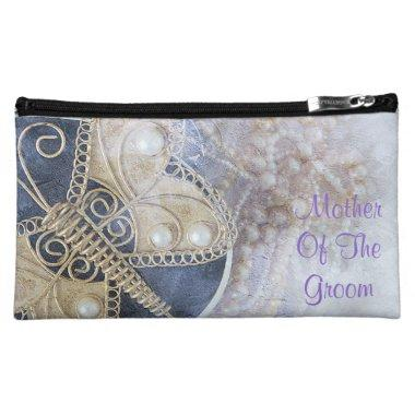 Mother Of The Groom Purple White Gold Wedding Cosmetic Bag