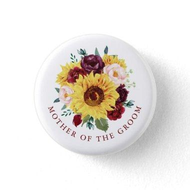 Mother of the Groom Sunflower Fall Floral Button