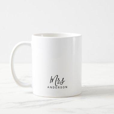 Mr and Mrs | Modern Script Personalized Coffee Mug