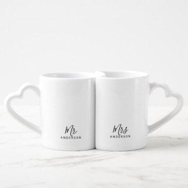 Mr and Mrs | Modern Script Personalized Coffee Mug Set