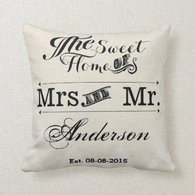 Mr and Mrs vintage Typography wedding Throw Pillow