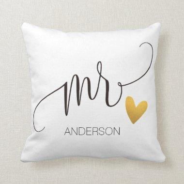 Mr.|Mr.& Mrs.| Calligraphy|Personlized Wedding-2 Throw Pillow