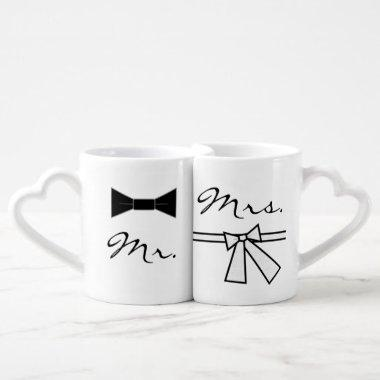 Mr. & Mrs. Bow Tie & Bow, w/ XO on Back Coffee Mug Set