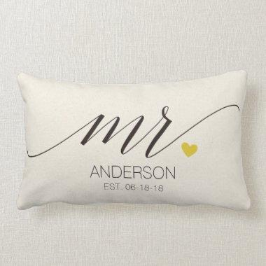 Mr.& Mrs. Personalized Wedding Gift Lumbar Pillow
