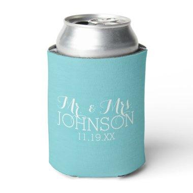 Mr & Mrs Wedding Favor - Pastel Teal Blue Can Cooler