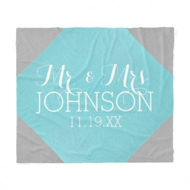 Mr & Mrs Wedding Favor - Pastel Teal Blue Fleece Blanket