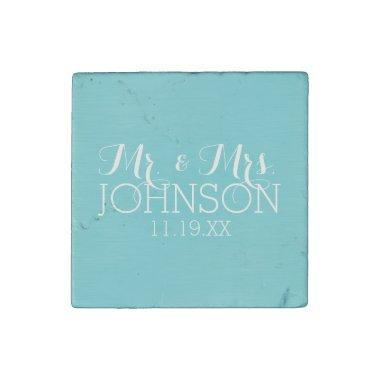 Mr & Mrs Wedding Favor - Pastel Teal Blue Stone Magnet
