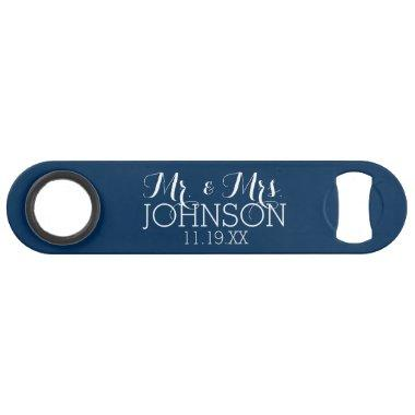 Mr & Mrs Wedding Favor Solid Color Navy Blue Bar Key