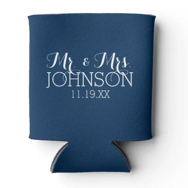 Mr & Mrs Wedding Favor Solid Color Navy Blue Can Cooler