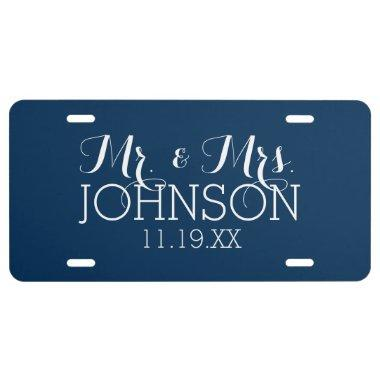 Mr & Mrs Wedding Favor Solid Color Navy Blue License Plate