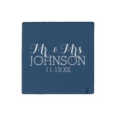 Mr & Mrs Wedding Favor Solid Color Navy Blue Stone Magnet