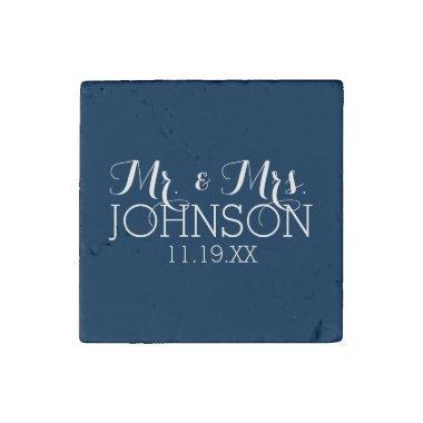 Mr & Mrs Wedding Favor Solid Color Navy Blue Stone Magnet