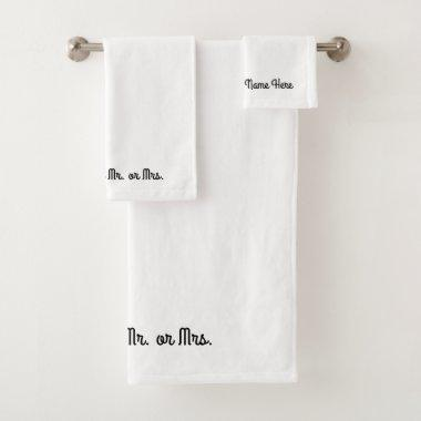 Mr. or Mrs. ~ Towel Set / Separate Purchase
