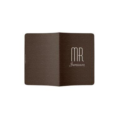 """""""Mr"""" Passport Holder, Dark Brown Faux Textured Passport Holder"""