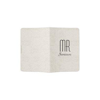 """Mr"" Passport Holder, Off White, Black Lettering Passport Holder"