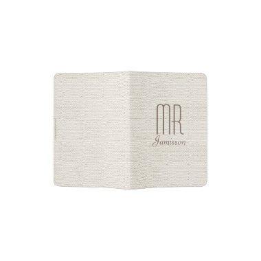 """""""Mr"""" Passport Holder, Off White Faux Textured Passport Holder"""