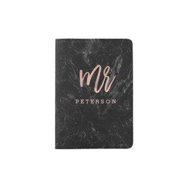 Mr passport rose gold typography black marble passport holder